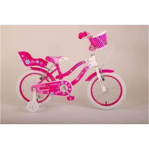 Volare bella bicicletta per bambini 16 pollici rosa bianco due freni a mano assemblata al 95%