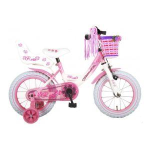 Volare bici per bambini 14 pollici rosa bianca assemblata al 95%