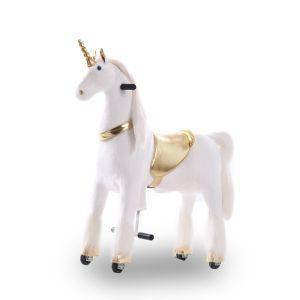 Kijana unicorno cavalcabile oro grande