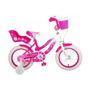 Volare Lovely bicicletta per bambini 14 pollici rosa bianco 95% assemblata