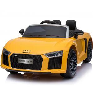 Audi R8 Spyder kinderauto geel vooraanzicht banden