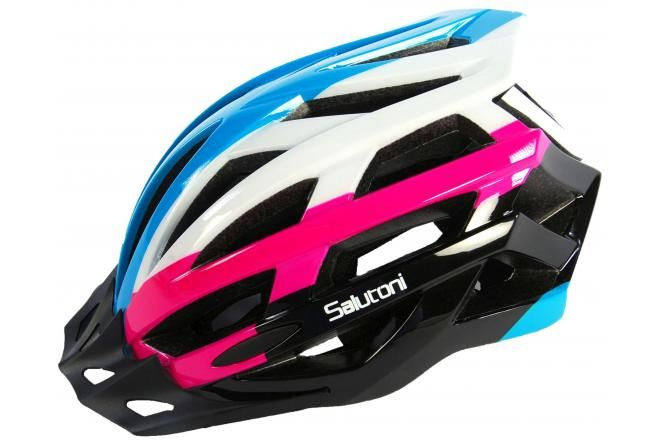 Salutoni casco bici da Donna blu bianco rosa 58-61 cm