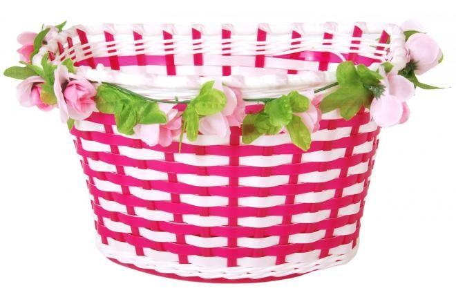 Volare cestino per bicicletta intrecciato fiori bianco / rosa