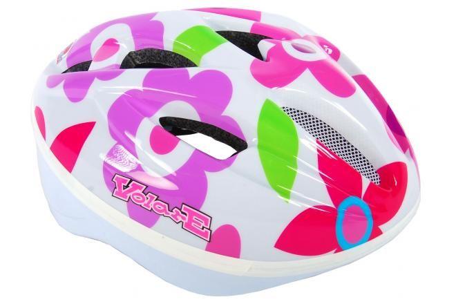 Volare casco da bicicletta Deluxe fiori bianchi 51-55 cm
