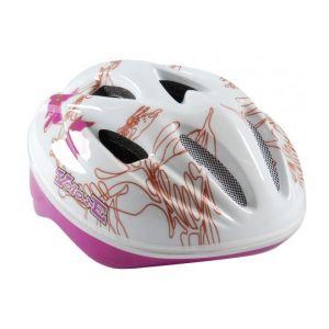 Volare casco da bicicletta Deluxe bianco rosa foglie 51-55 cm