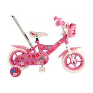 Volare bicicletta per bambini Flowerie 10 pollici rosa / bianco