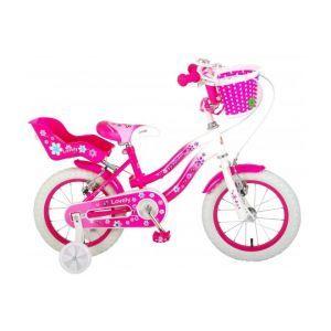 Volare bella bicicletta per bambini 14 pollici rosa bianca due freni a mano assemblata al 95%