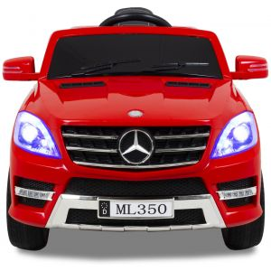 Mercedes ML350 kinderauto rood vooraanzicht koplampen zijspiegels