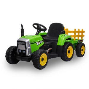 Kijana trattore elettrico per bambini con rimorchio verde