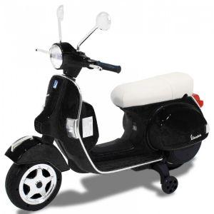 Vespa kinderscooter zwart zijaanzicht voorkant