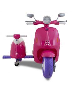 Scooter elettrico Vespa con sidecar rosa